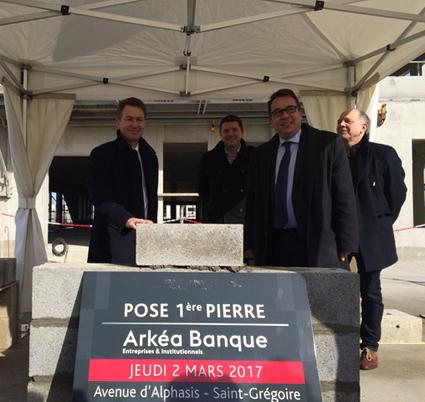 Pose de la première pierre du nouveau siège du pôle Entreprises et Institutionnels d'Arkéa