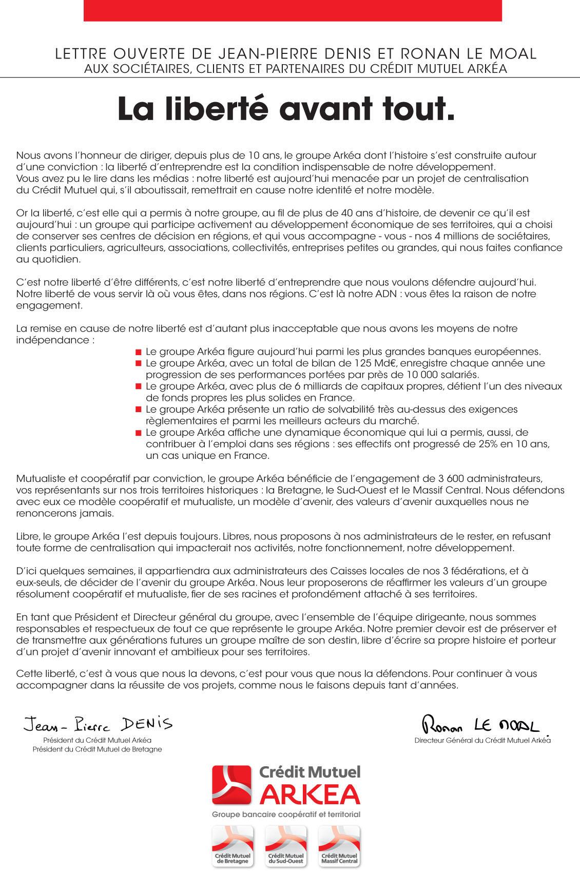 Lettre ouverte de Jean-Pierre Denis et Ronan Le Moal aux clients d'Arkéa
