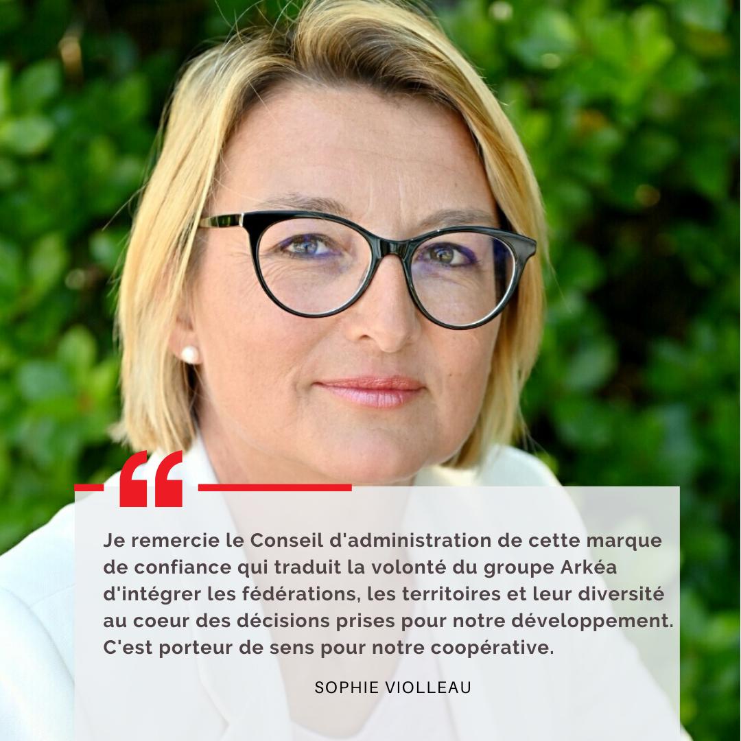 Sophie Violleau, nouvelle vice-Présidente du groupe Arkéa
